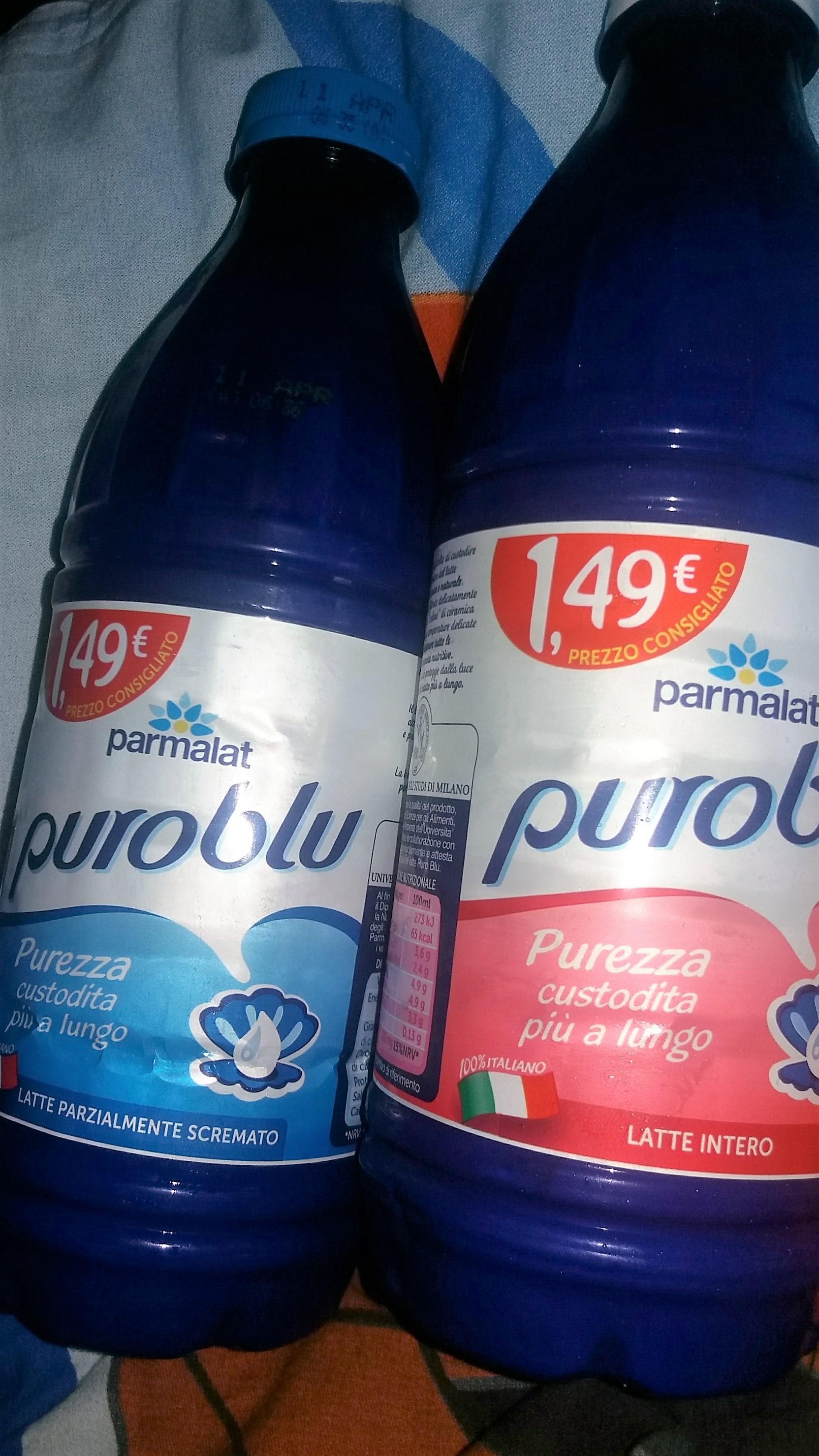"""Puro Blu Intero · Puro Blu Parzialmente Scremato ... Per questo possiamo dire che il latte """"Puro Blu, il latte buono che dura di più""""!"""